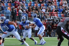 Duke redshirt junior quarterback Daniel Jones did a fine job of reading the mesh point with running back Deon Jackson most of the afternoon.
